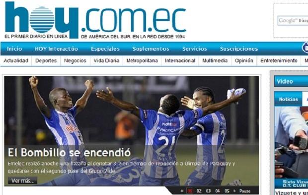 """Diário """"Hoy"""", de Quito, exalta a classificação do Emelec (Foto: Reprodução)"""