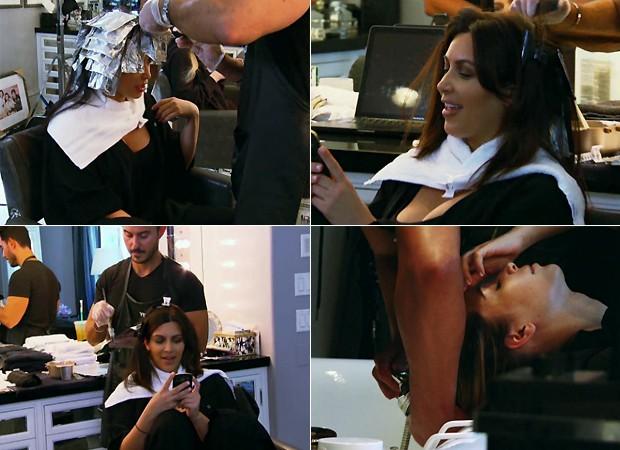 Kim Kardashian ficando loira (Foto: Reprodução/E!)