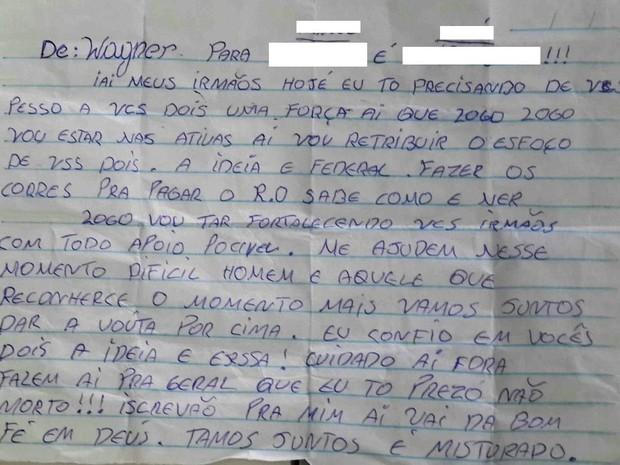 Preso escreve bilhete pedindo ajuda no tráfico de drogas (Foto: Polícia Civil/ Divulgação)