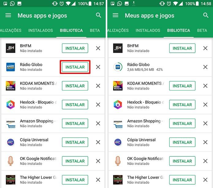 Play Store permite que usuário instale aplicativo novamente com facilidade (Foto: Reprodução/Elson de Souza)