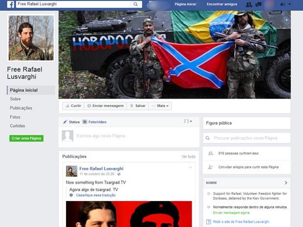 Página criada no Facebook pede liberdade a Rafael Lusvarghi (Foto: Reprodução / Facebook)
