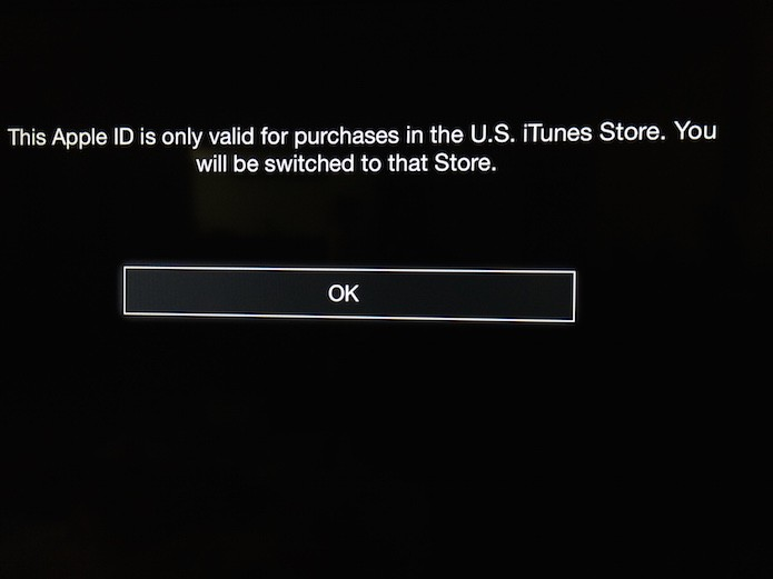 Redirecionamento para a conta da iTunes Store americana na Apple TV (Foto: Reprodução/Marvin Costa)