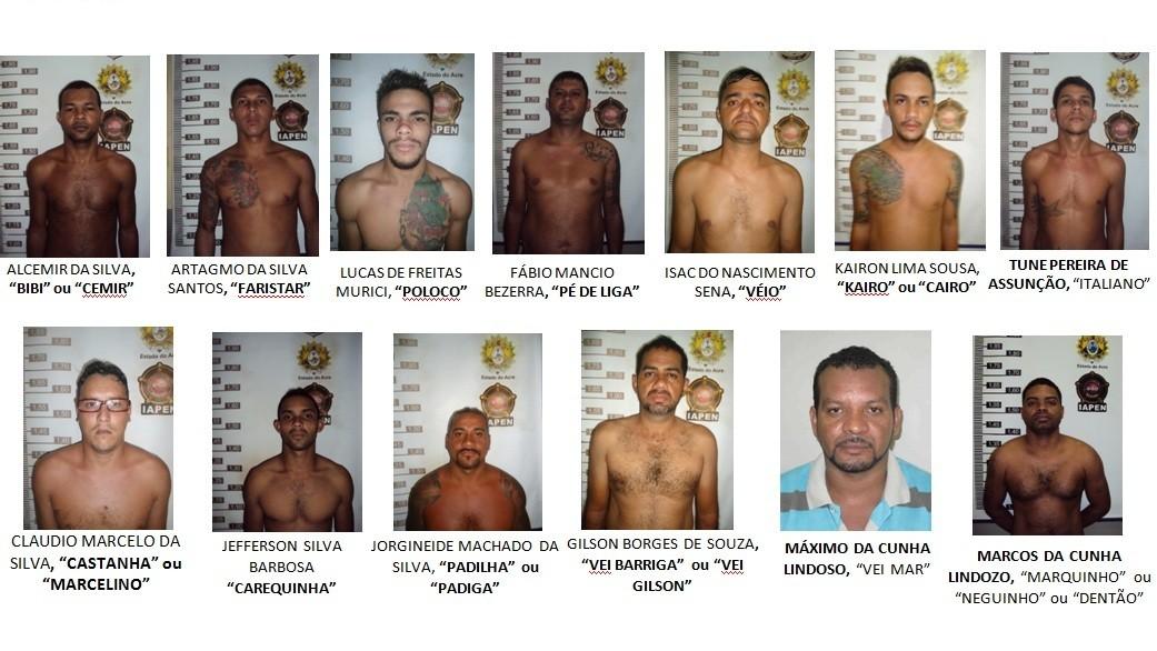 MP fez apresentação com os 13 integrantes ligados ao crime organizados no Acre  (Foto: Divulgação/MP-AC)