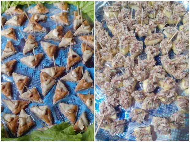 Canapés com ingredientes regionais na Expocrato (Foto: Biana Alencar/ TV Verdes Mares Cariri)
