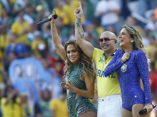 Jennifer Lopez, Pitbull e Claudia Leitte cantam música temática da Copa