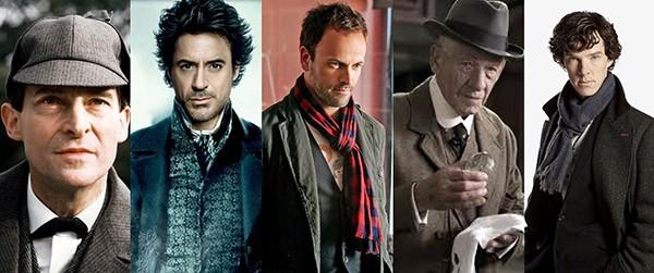 Jeremy Brett em The Adventures of Sherlock Holmes (1984-1985), Robert Downey Jr. em Sherlock Holmes (2009), Jonny Lee Miller em Elementary (2012-atual), Ian McKellen em Sr. Sherlock Holmes (2015), e Benedict Cumberbatch em Sherlock (2010-atual)   (Foto: Divulgação)