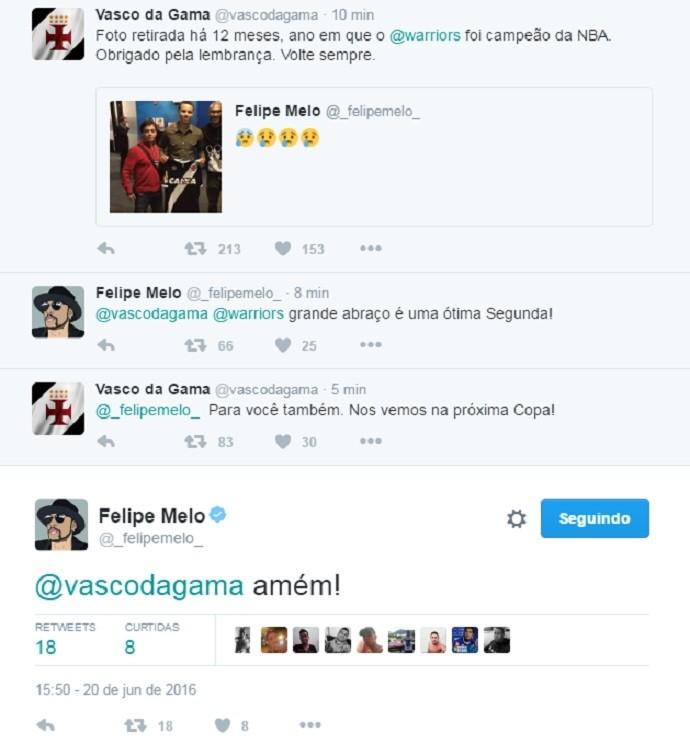 """BLOG: Felipe Melo provoca Vasco, e clube responde via Twitter: """"Volte sempre"""""""