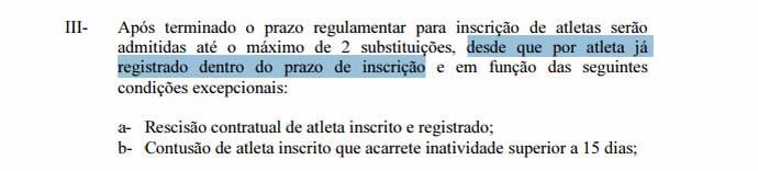 Trecho do regulamento que pode mudar a decisão favorável ao Angra (Foto: Reprodução/Site da Ferj)