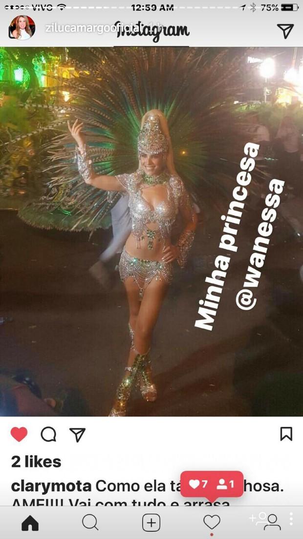 Zilu comenta o desfile de Wanessa (Foto: Reprodução/ Instagram)
