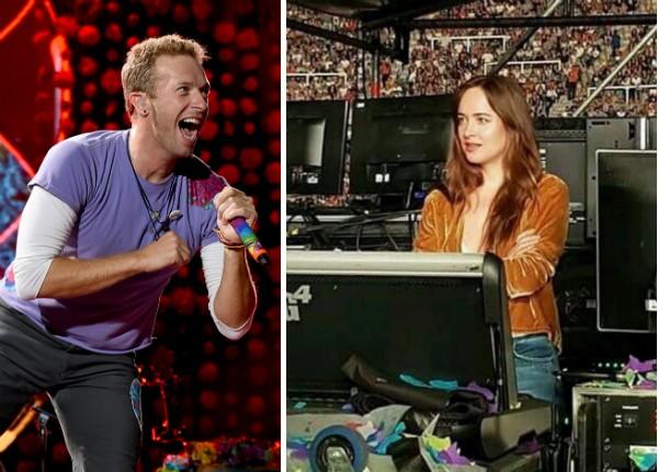 A atriz Dakota Johnson assistindo ao show de Chris Martin com o Coldplay na Argentina (Foto: Getty Images/Twitter)