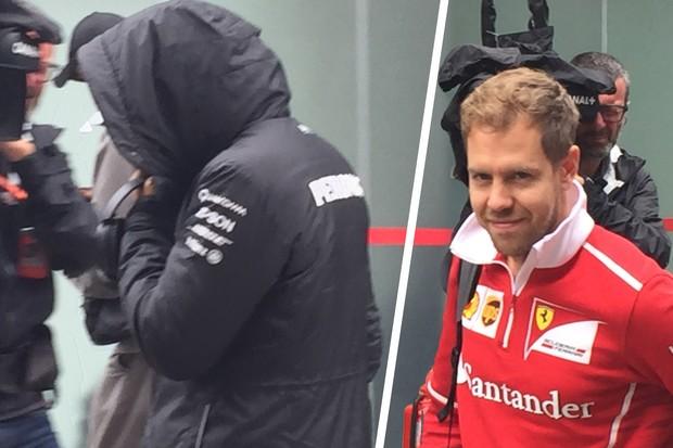 Vettel e Hamilton chegando no sábado no autódromo, comportamentos diferentes (Foto: Conexão Saloma)