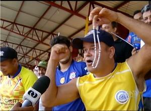Raimundo Araújo comemorando vitória do Interporto diante do Guarany de Sobral  (Foto: Reprodução/TV Anhanguera)