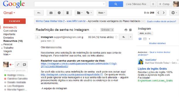 Clique no link dentro do corpo do e-mail (Foto: Reprodução/Lívia Dâmaso)
