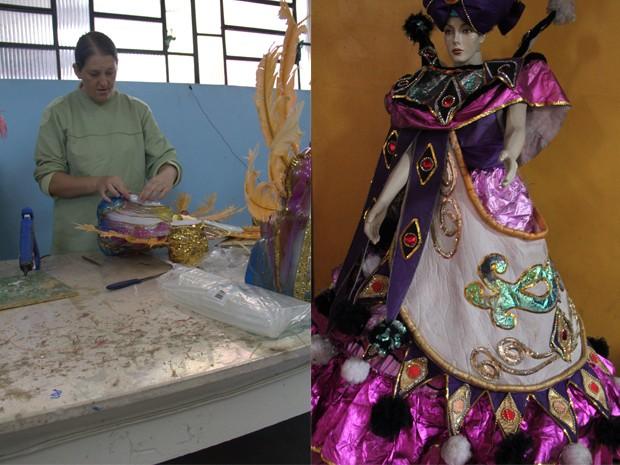 Mais de 100 pessoas trabalham na confecção das fantasias (Foto: Jéssica Balbino / G1)
