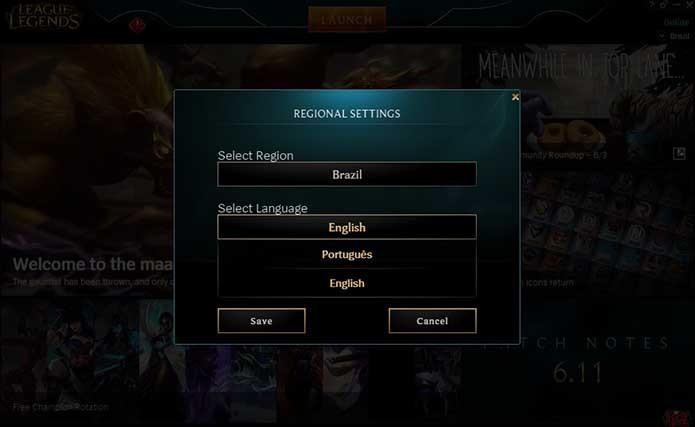 Mude o idioma do League of Legends (Foto: Reprodução/Murilo Molina)