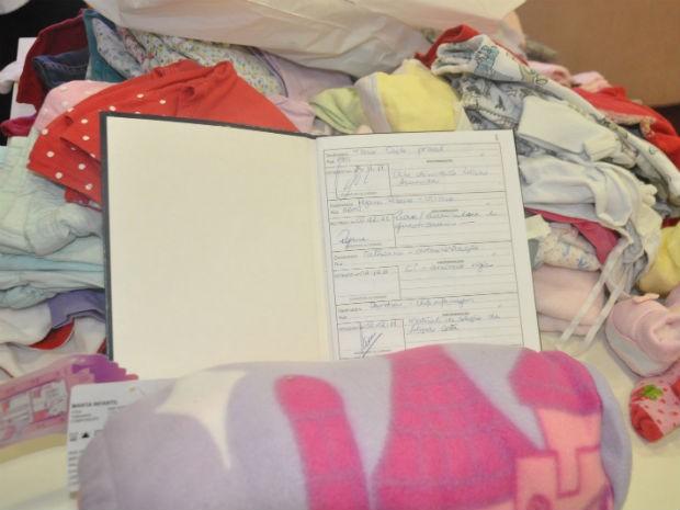 Caderno de protocolo onde serão registradas as doações às quadrigêmeas (Foto: Mirian Machado/ G1 MS)