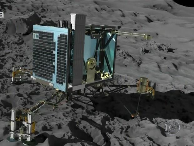 Robô pousa em cometa (Rede Globo) (Foto: Reprodução Rede Globo)