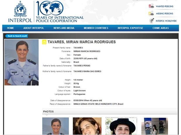 Militar do Sul de Minas desaparecida passa a ser procurada pela Interpol (Foto: Reprodução Interpol)