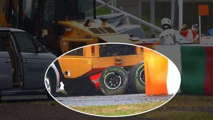 Jules Bianchi bateu com Marussia em trator durante GP do Japão (Foto: Getty Images)