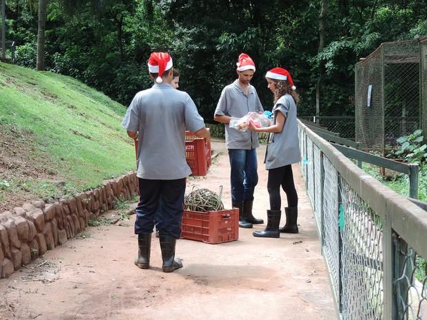 Tratadores entregaram os presentes nesta sexta-feira (23) (Foto: Stephanie Fonseca/G1)