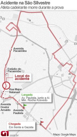 mapa acidente sao silvestre (Foto: G1)