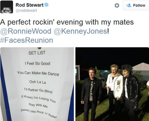 Rod Stewart fala sobre show do Faces no Twitter: 'Noite perfeita com meus amigos' (Foto: Reprodução / Twitter)
