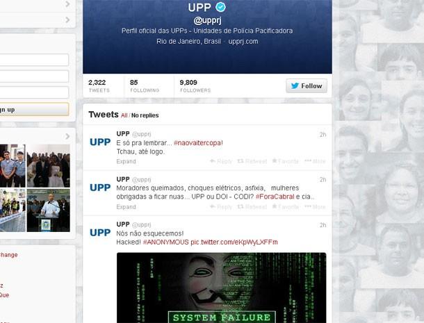 Perfil oficial da UPP no Twitter é invadido por hackers (Foto: Reprodução / Twitter)