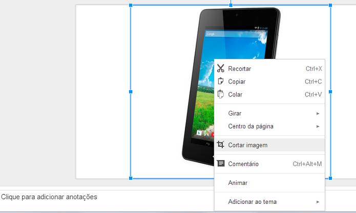 Agora, é possível cortar imagem direto no Docs (Foto: Thiago Barros/Reprodução)