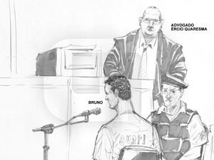 06/03/2013 - Bruno é observado pelo advogado Ércio durante depoimento (Foto: Léo Aragão/G1)