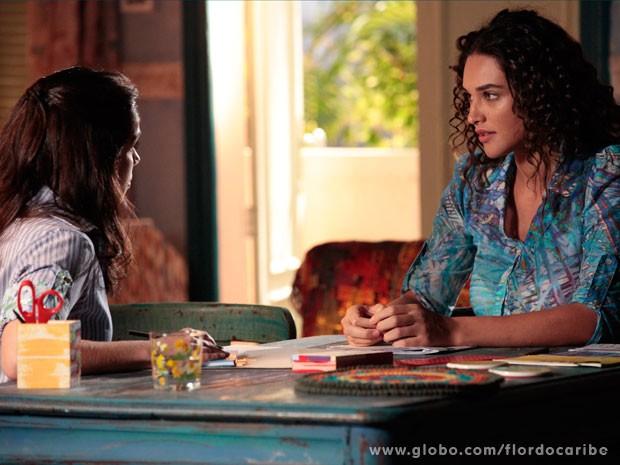 Taís pede ajuda a Simone (Foto: Flor do Caribe / TV Globo)