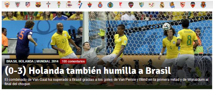 Mundo Deportivo diz que Brasil foi humilhado  (Foto: Reprodução/Mundo Deportivo)