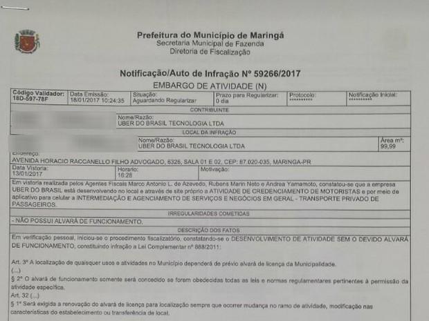 Prefeitura de Maringá notificou Uber por falta de alvará para funcionamento de escritório (Foto: Reprodução/Prefeitura de Maringá)