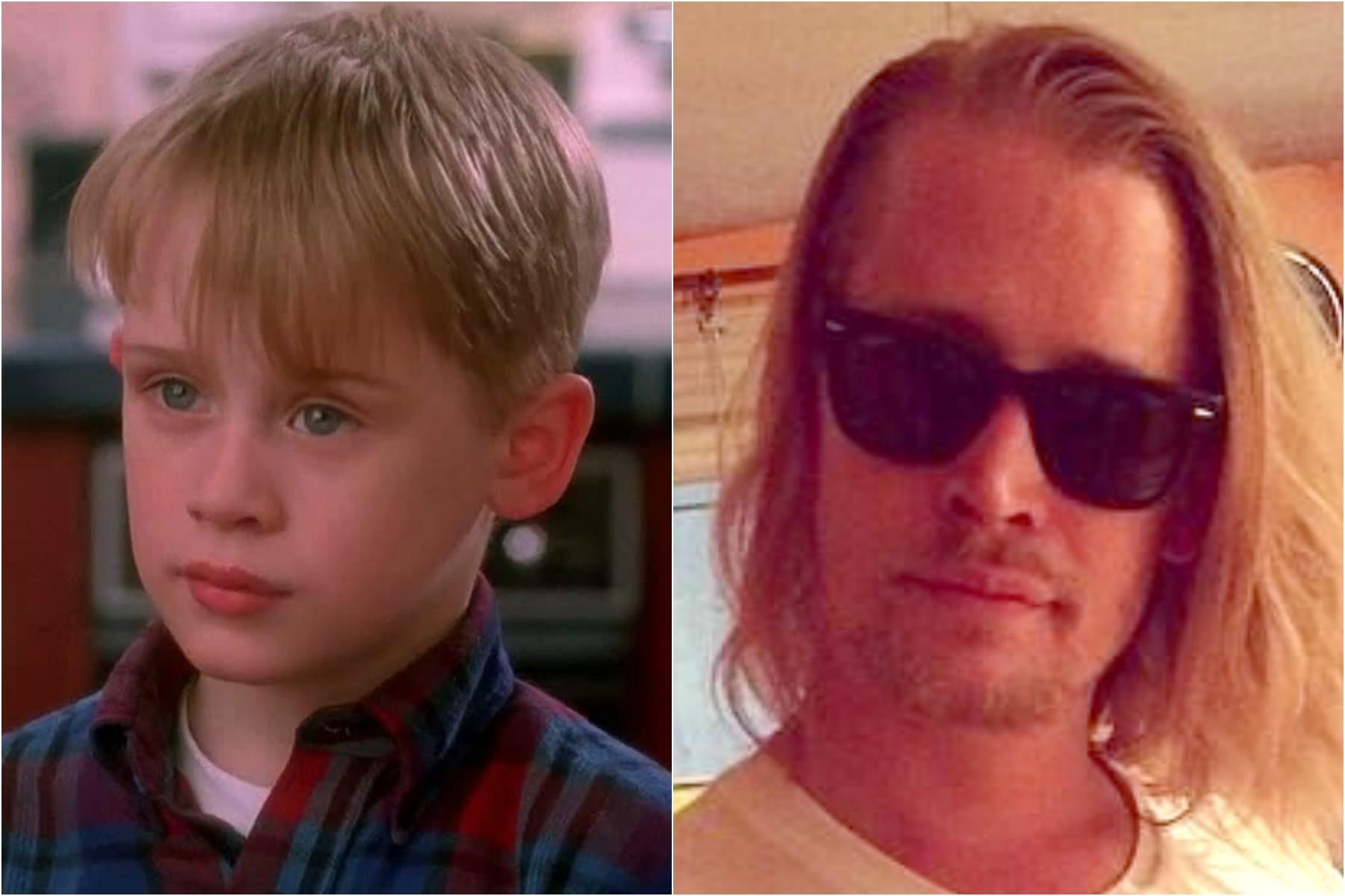 Macaulay Culkin em 'Esqueceram de Mim' (1990), quando tinha 10 anos de vida, e nos dias de hoje, com 33. (Foto: Divulgação e Twitter)