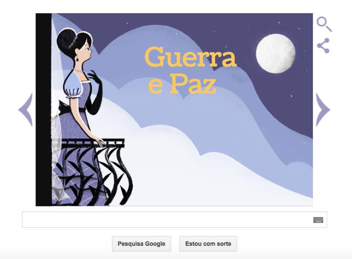 Doodle do Google de Leo Tolstoy, autor Guerra e Paz (Foto: Reprodução/Google)