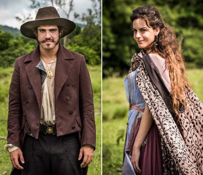 Dom Pedro e Noémie terão um caso em 'Novo Mundo'; os personagens são interpretados por Caio Castro e Luisa Micheletti (Foto: Globo/ César Alves)