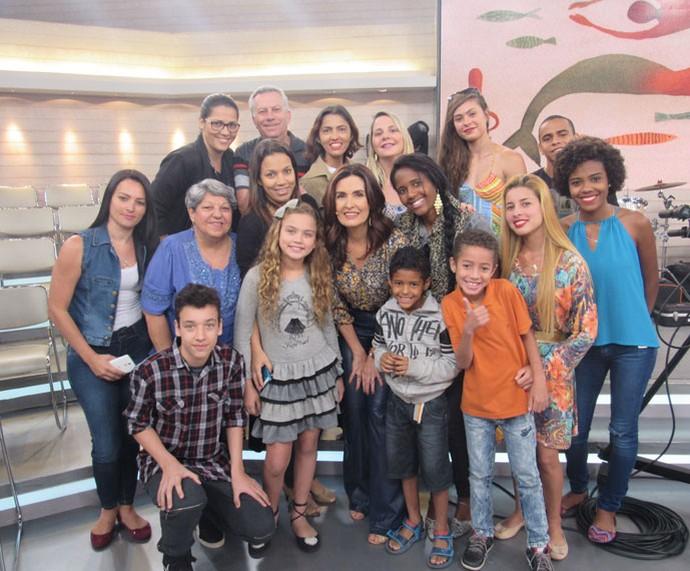 Plateia do programa tira foto com a Fátima  (Foto: Larissa Moggi/Gshow)