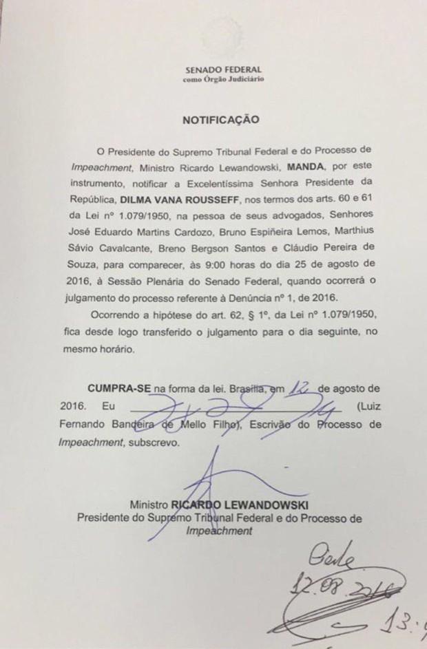 Cópia da notificação entregue à defesa de Dilma Rousseff comunicando sobre a data do início do julgamento final do processo de impeachment (Foto: Reprodução)