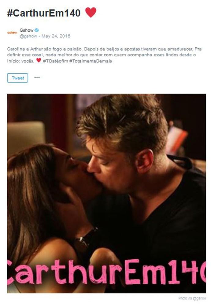 #Carthur: veja definição dos fãs para o casal vivido por Juliana Paes e Fábio Assunção (Foto: Reprodução)