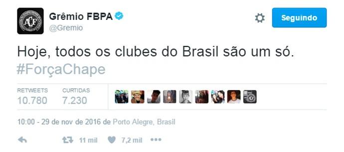 Tuíte Grêmio Chapecoense (Foto: Reprodução)
