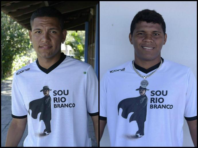 Carlos Vitor e Diego Neves, meia e atacante do Rio Branco-ES (Foto: Richard Pinheiro/GloboEsporte.com)