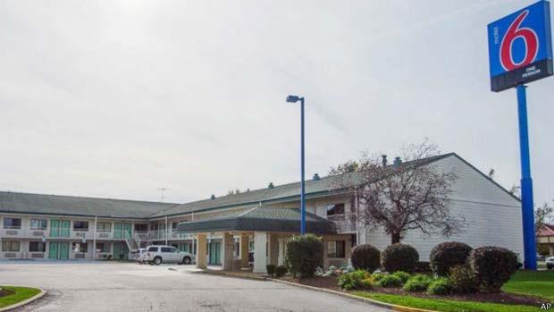 Um dos corpos foi encontrado no Motel 6, no estado de Indiana, nos Estados Unidos (Foto: AP/BBC)