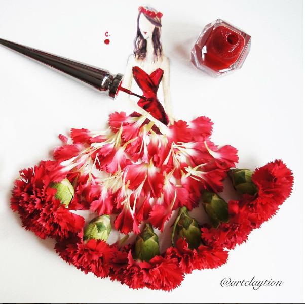 Vestido feito com esmalte Louboutin (Foto: Reprodução / Instagram)