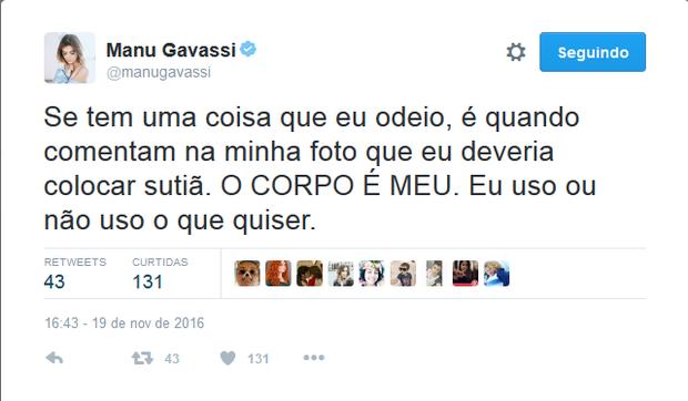 Manu Gavassi desabafa no Twitter (Foto: Reprodução/Twitter)