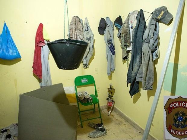 Alojamento dos imigrantes funcionava na região central de Corumbá (Foto: Divulgação Polícia Federal/MS)