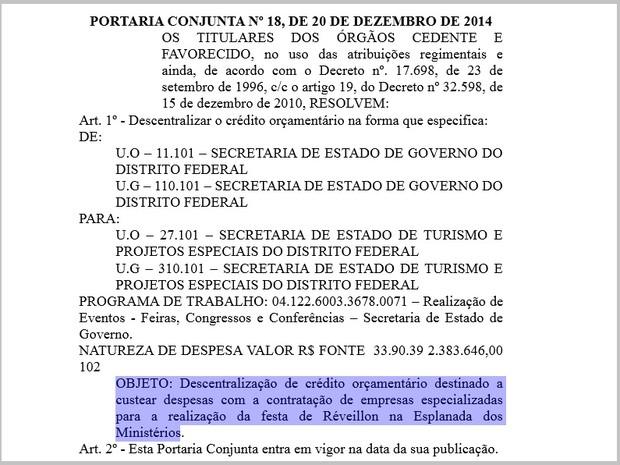 Trecho do Diário Oficial do DF que mostra autorização para usar verbas canceladas em montagem de festa (Foto: Reprodução)