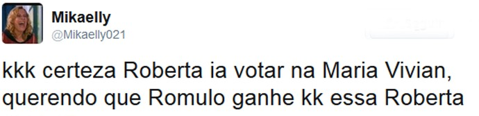 Roberta declara torcida para Rômulo e surpreende internautas (Foto: Reprodução da Internet / @Mikaelly021)
