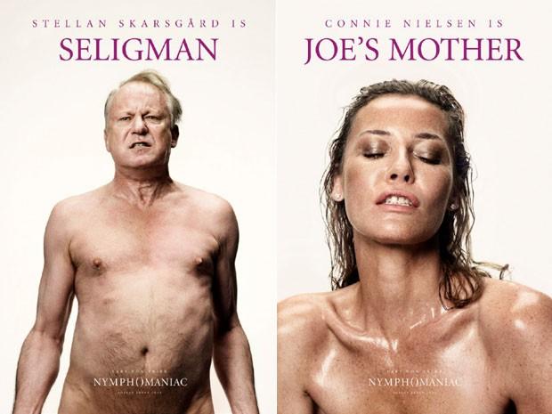 Stellan Skarsgård e Connie Nielsen em pôsteres do filme 'Nymphomaniac', de Lars von Trier (Foto: Divulgação)