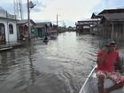 Enchente alaga cartórios e fórum da cidade de Anamã, no AM