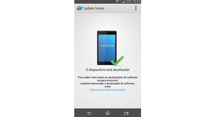 O Xperia ZQ está atualizado com a última versão disponibilizada pela Sony, o  Android 4.4 ou KitKat (Foto: Reprodução/Bruno Quevedo)