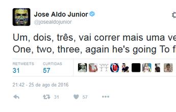 """BLOG: José Aldo provoca Conor McGregor: """"1, 2, 3, vai correr mais uma vez"""""""